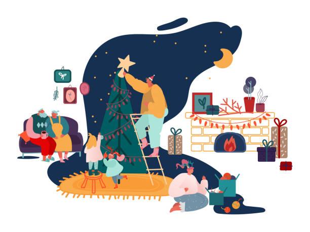 stockillustraties, clipart, cartoons en iconen met merry christmas seizoen en winter nieuwjaar familie viering set, ouders en kinderen versieren kerstboom, zingen carols, verpakking presenteert bij open haard scènes. vector illustratie - christmas family