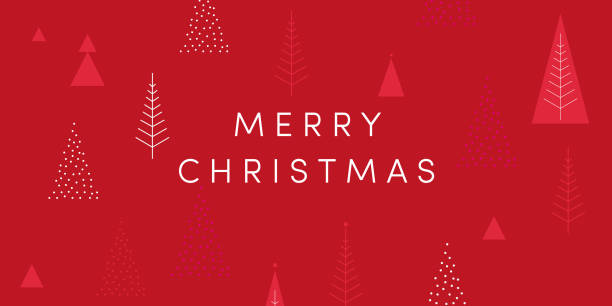 Merry Christmas! Season's greetings card. Cool geometric style, trendy  minimalist design. Christmas trees, red color background, snowflakes, sparkle. Festive greeting card, stylish retail web banner, POS poster, template Holiday season series vectors. Adjustable template with copy space. australian christmas stock illustrations