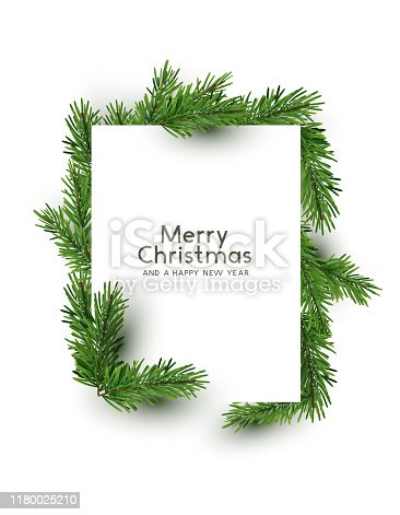 A christmas rectangle shape made from natural pine branches. Top down flat lay view  - vector illustration.