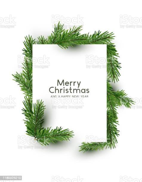 Vetores de Forma Do Feliz Natal Feita Com Filiais Do Pinho e mais imagens de Cartão de Felicitação