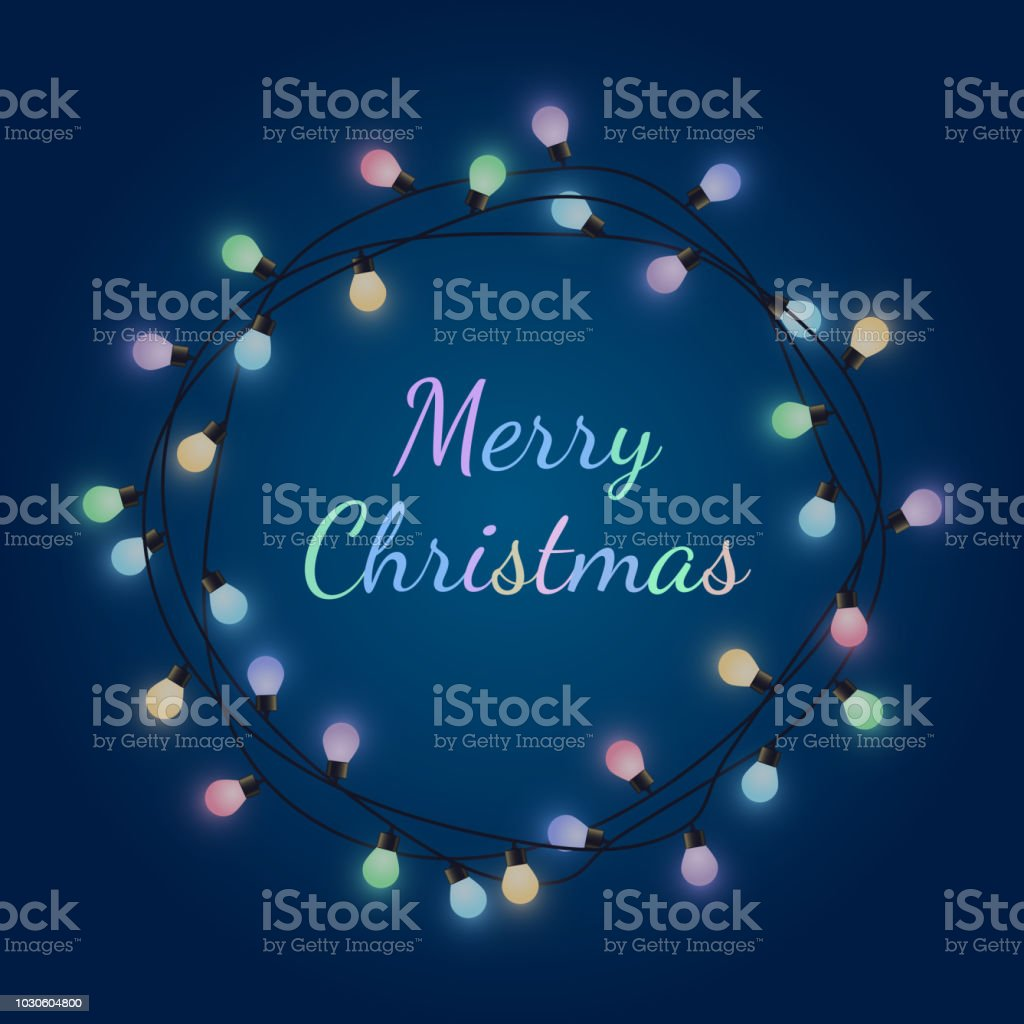 merry christmas sign in glowing bulb garland decorative colored lamp garland greeting card