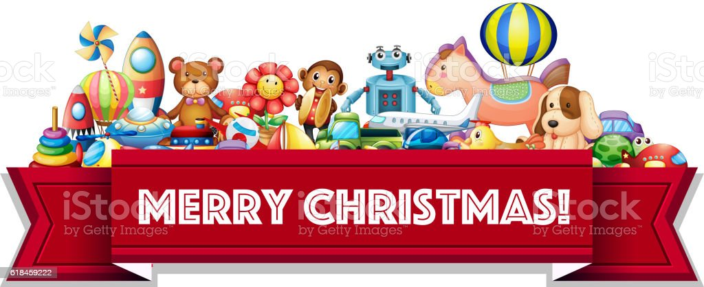 Merry Christmas sign with many toys vector art illustration