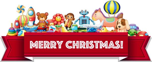 Merry Christmas sign with many toys - ilustração de arte em vetor