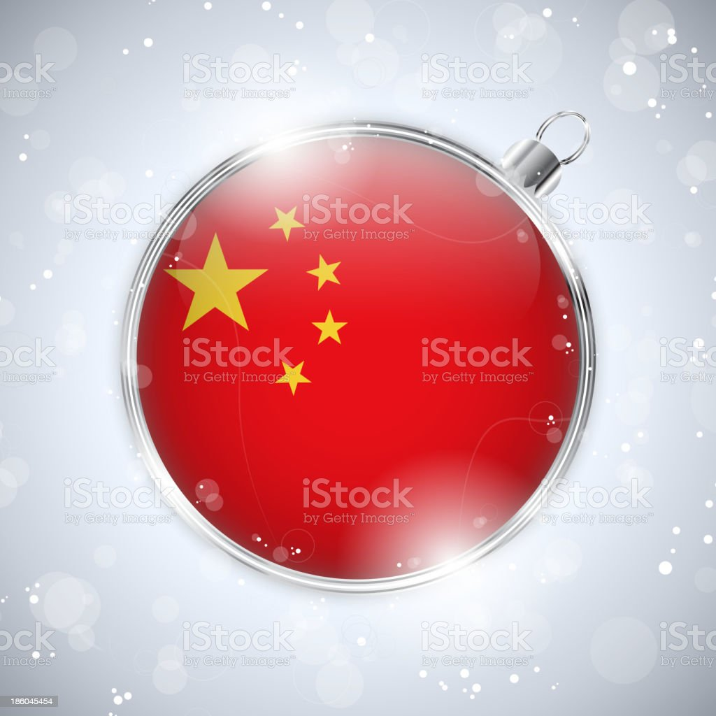 Merry Christmas Silver Ball with Flag China royalty-free stock vector art