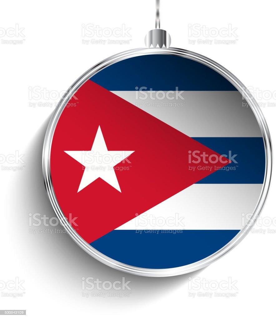 Merry Christmas Silver Ball with Flag Cuba vector art illustration