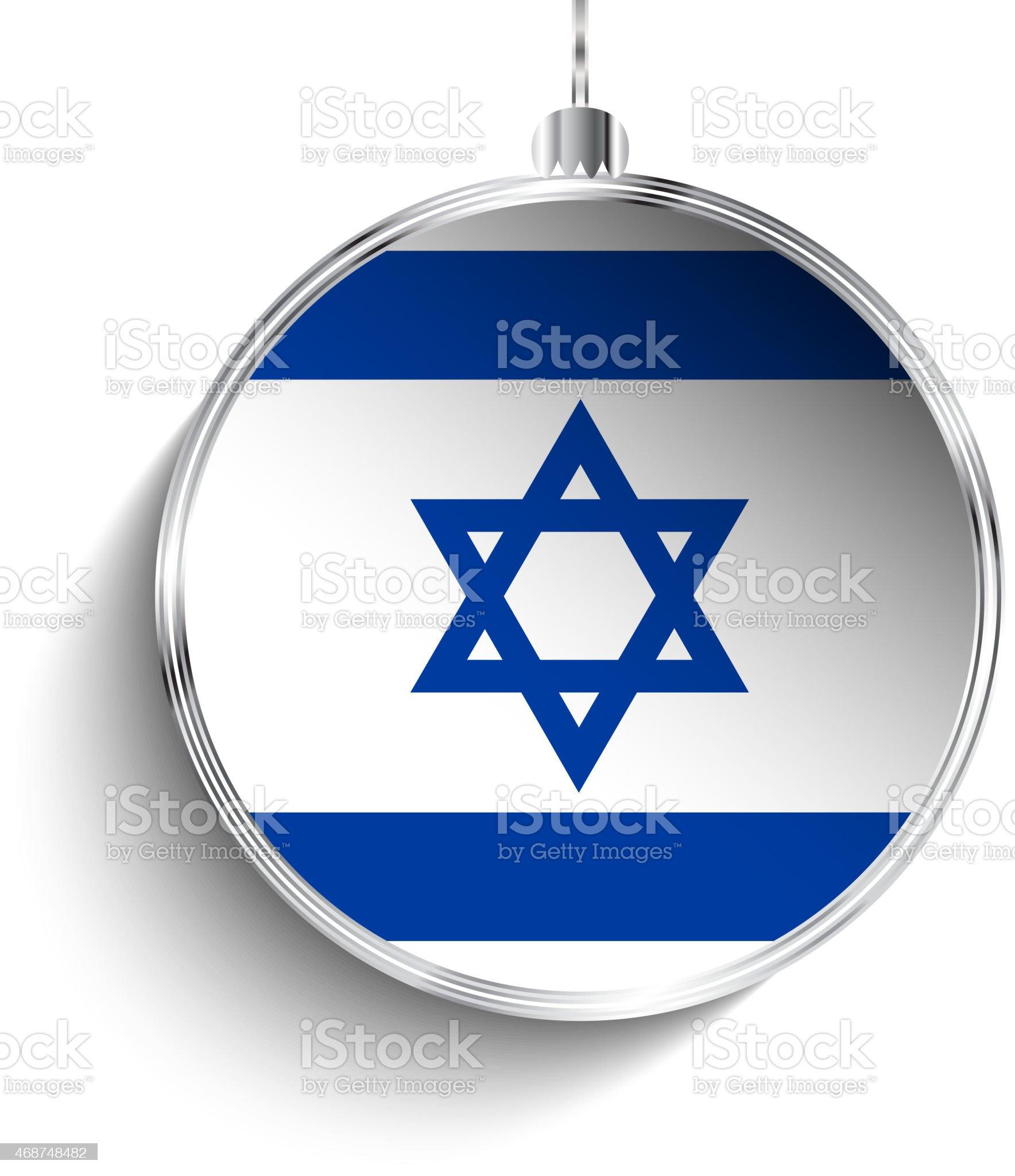 Bola de Natal prata com bandeira de Israel vetor e ilustração royalty-free royalty-free