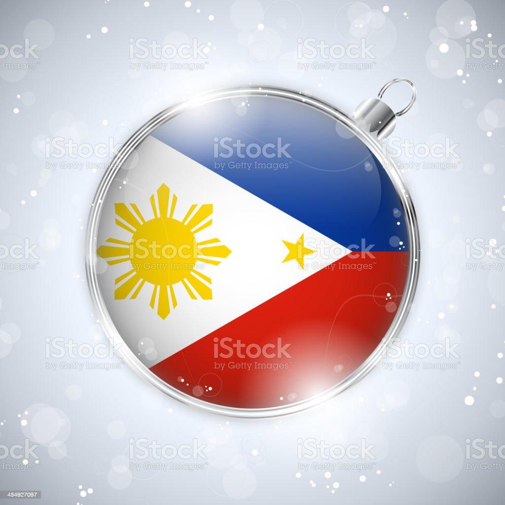 Frohe Weihnachten Philippinisch.Frohe Weihnachtensilber Ball Mit Flagge Der Philippinen