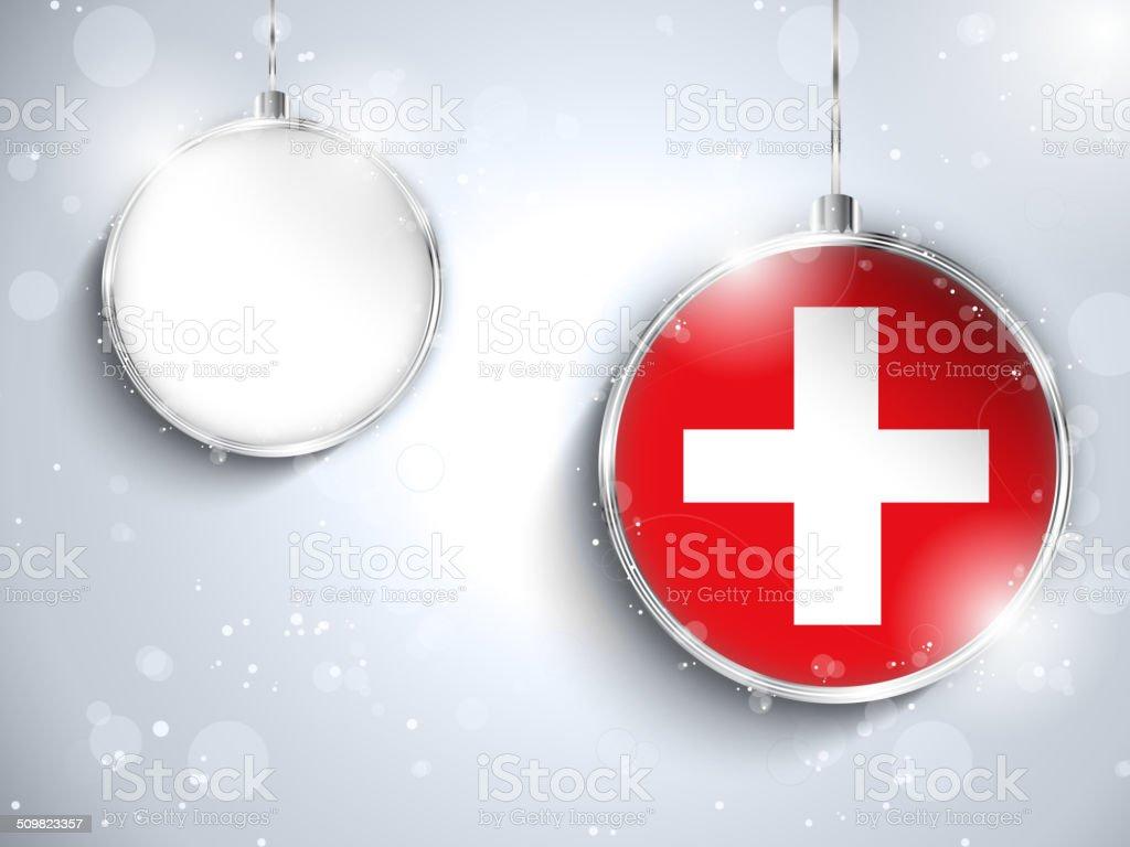 Frohe Weihnachten Schweiz.Frohe Weihnachtensilber Ball Mit Flagge Der Schweiz Stock Vektor Art