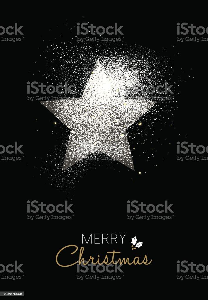 Frohe Weihnachten Silber Glitter Sterne Weihnachtskarte – Vektorgrafik