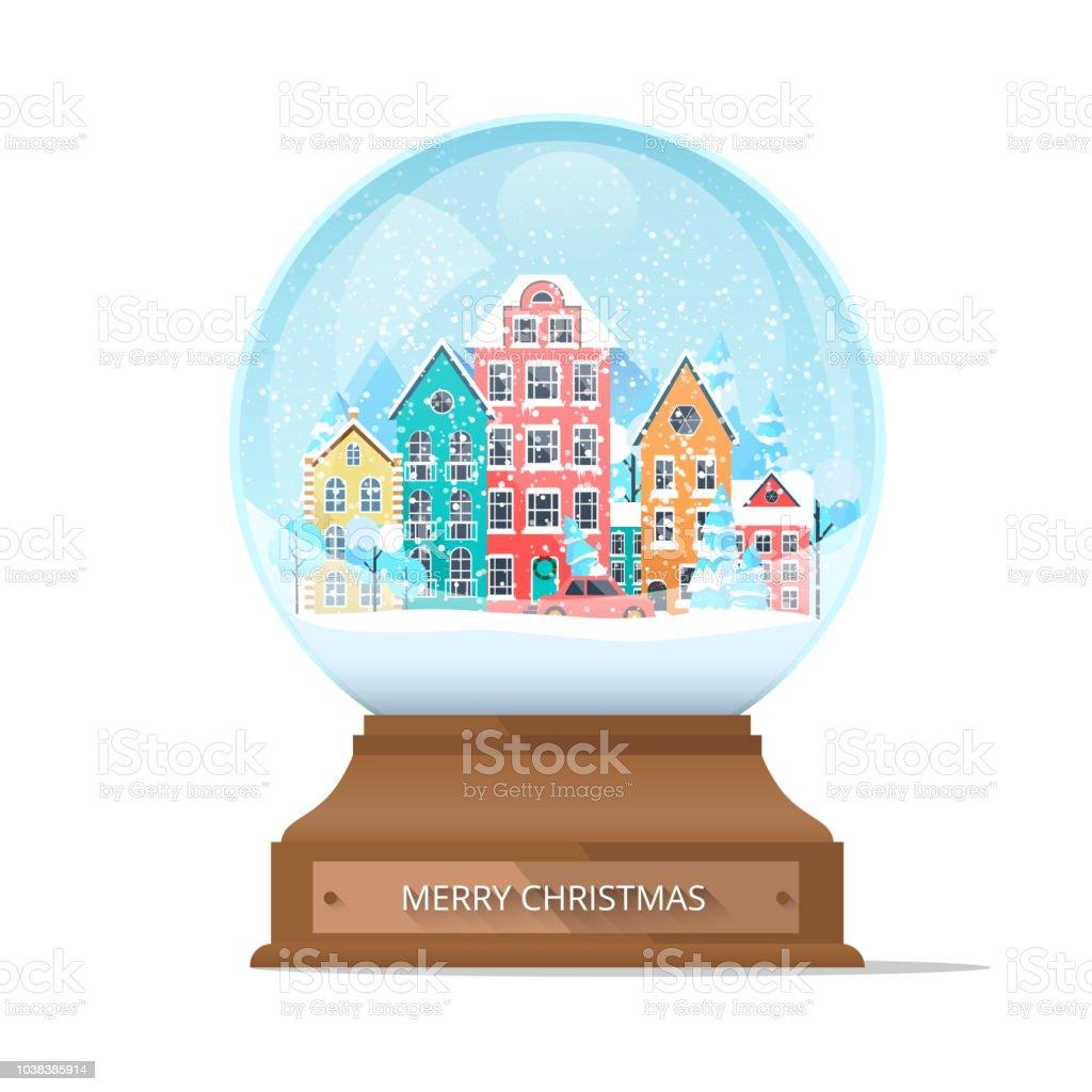 Frohe Weihnachtenschneekugel Mit Niedlichen Stadt Und Schneeflocken ...