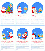 Merry Christmas and happy New Year, Snow Maiden and Santa Claus decorating tree with balls and bells and singing, posters set vector illustration