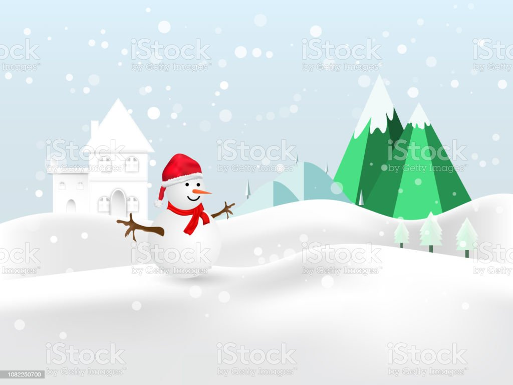 Merry Christmas Snowman In Hat And Glove Red On Winter Night Background Vector Stock Illustration Download Image Now