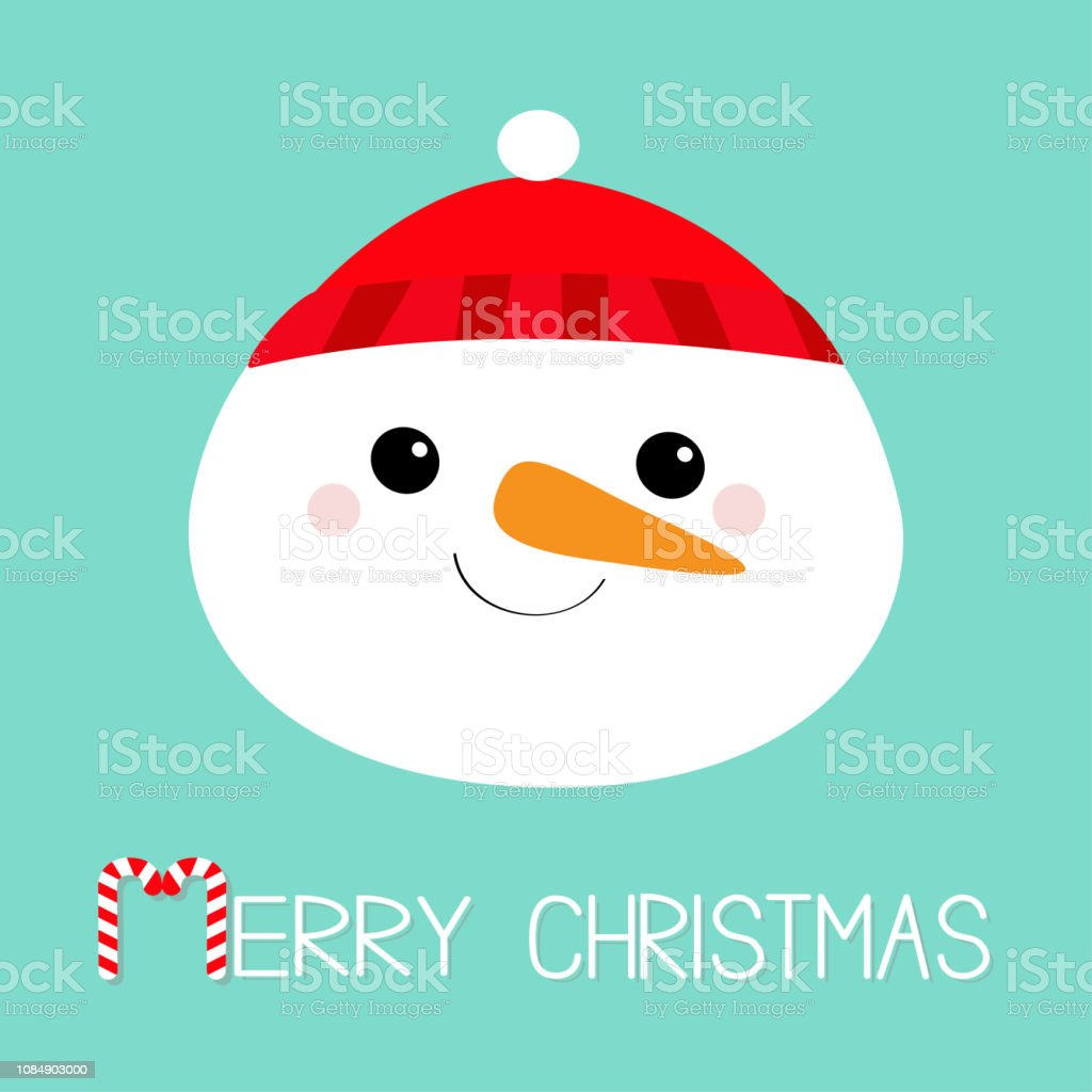 Merry Christmas Snowman Round Face Head Icon Carrot Nose Red Hat