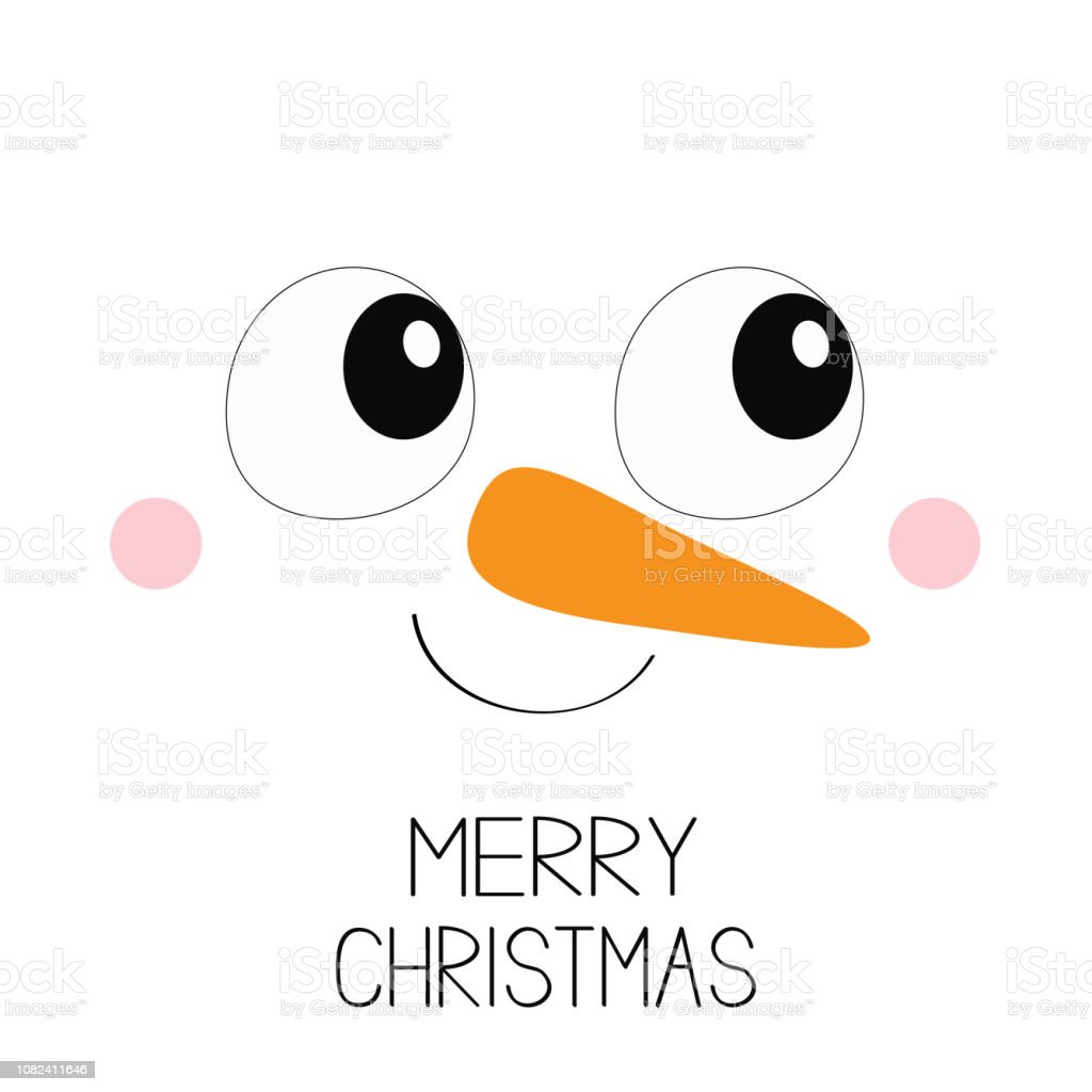 メリークリスマス雪だるまの四角い顔のアイコン大きな瞳にニンジンの鼻明けましておめでとうかわいい漫画面白い可愛い文字白いヘッド冬背景グリーティング カードフラ お祝いのベクターアート素材や画像を多数ご用意 Istock