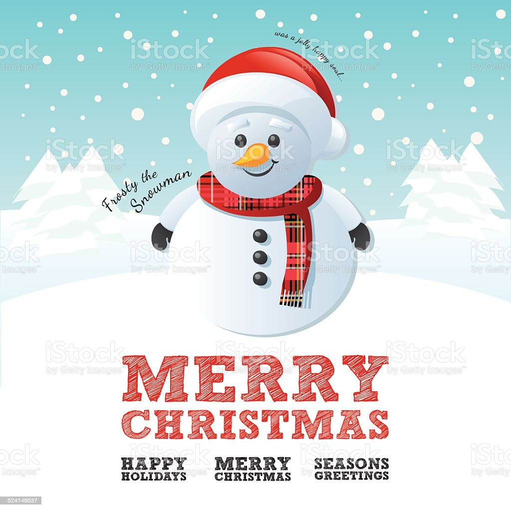 Merry Christmas Snowman Stock Vector Art & More Images of Abstract ...