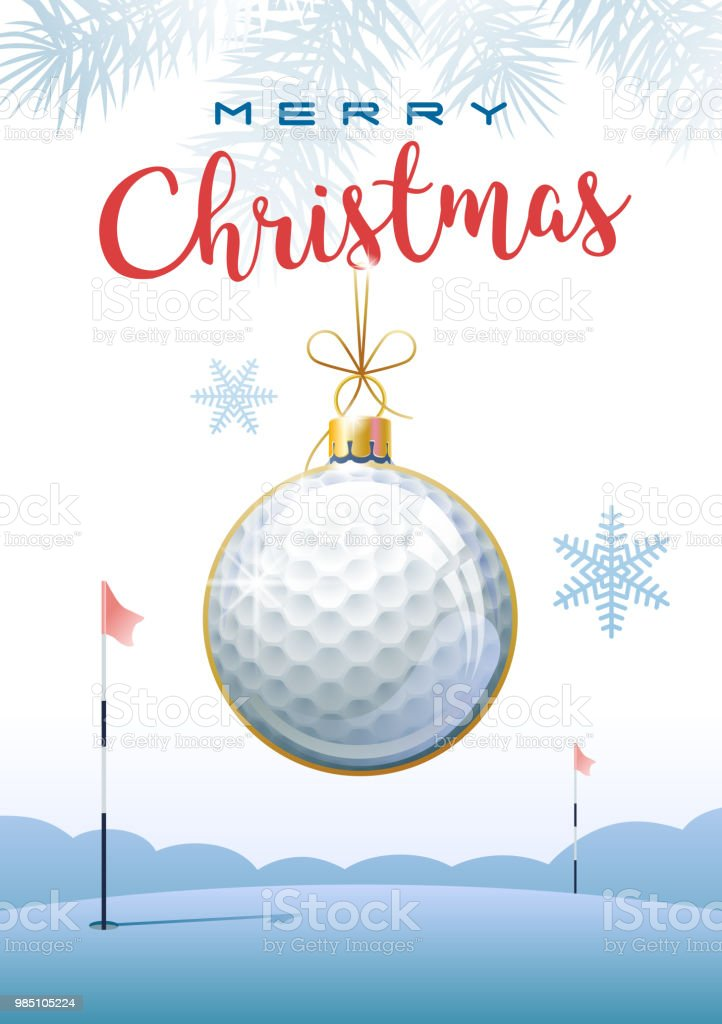 Merry Christmas Sports Greeting Card Golf Stock Vector Art & More ...