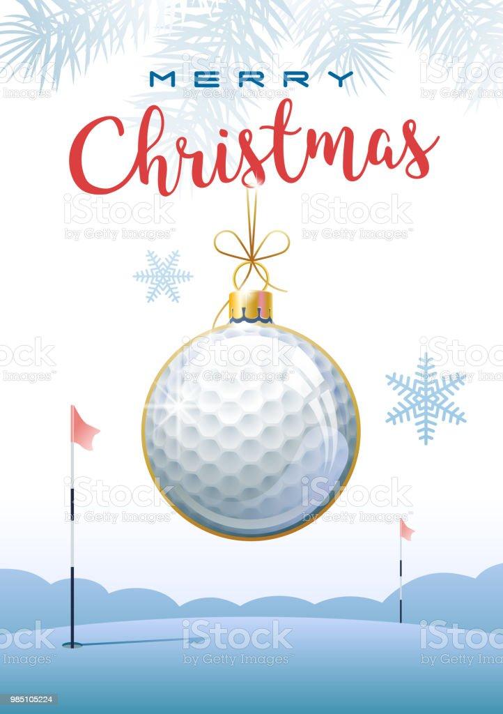 merry christmas sports greeting card golf stock vector art