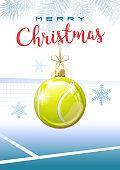 Merry Christmas. Sports greeting card. Tennis.