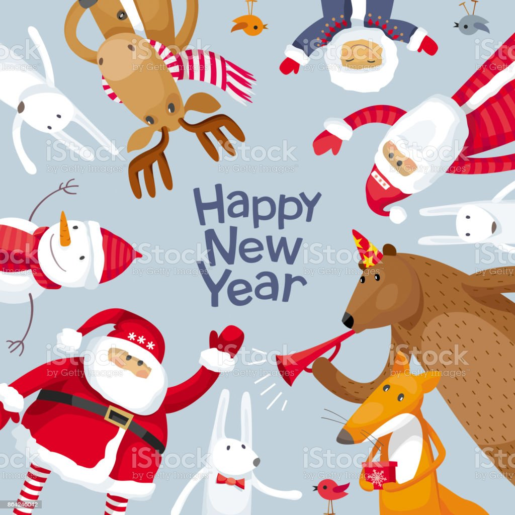 Merry Christmas square composition royalty-free merry christmas square composition stock vector art & more images of animal wildlife