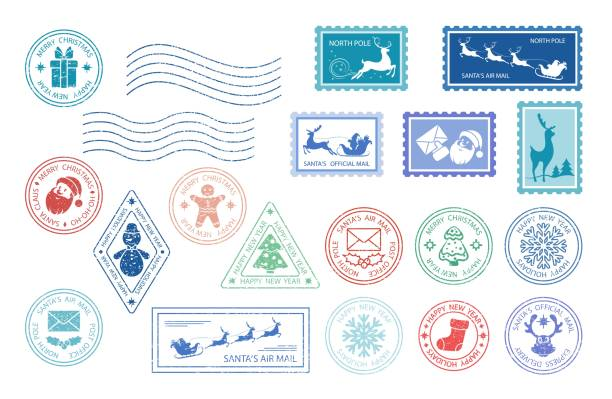 merry christmas stamp - stamp stock illustrations