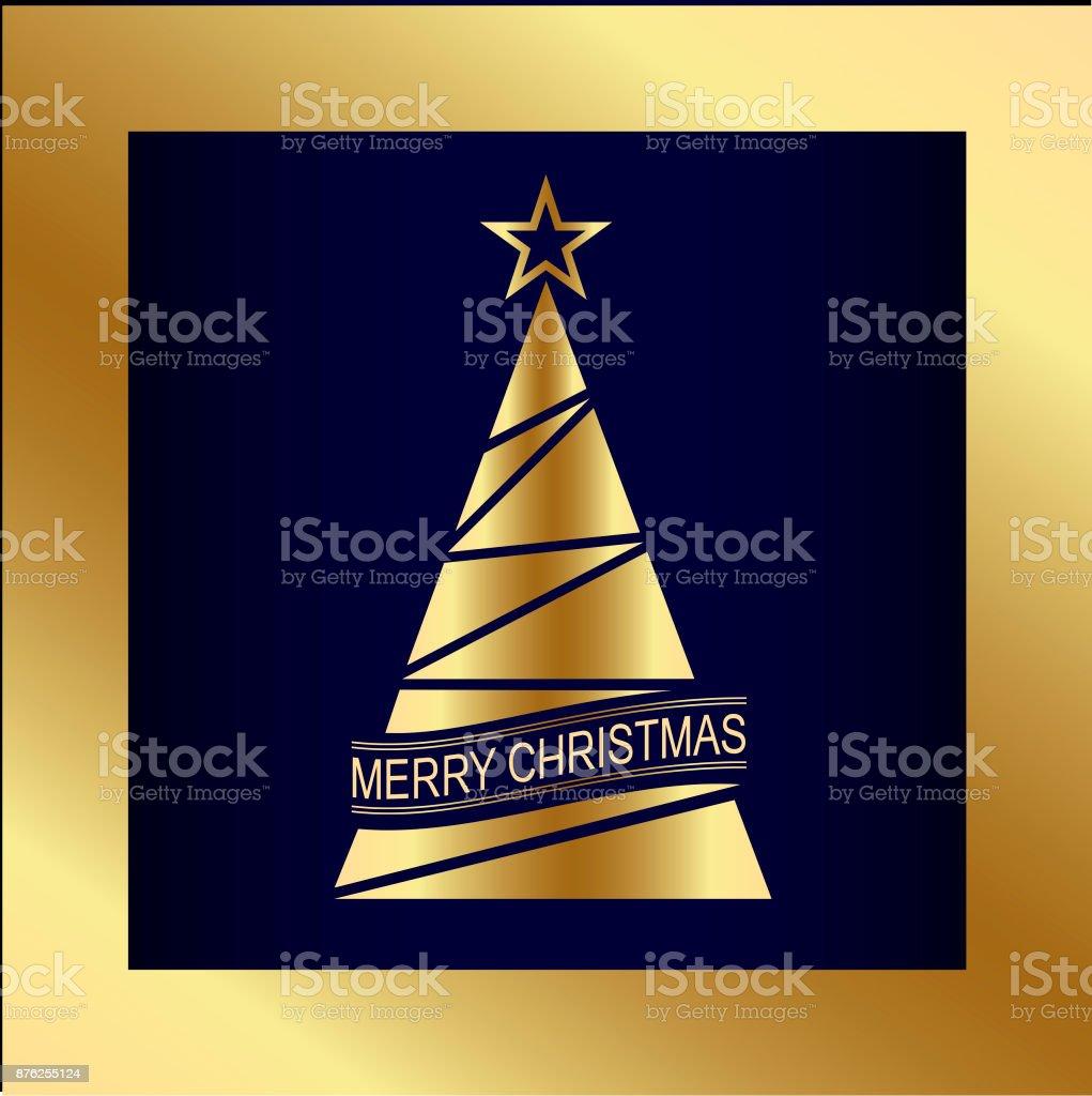 Frohe Weihnachten. Stilisierte goldene Weihnachtsbaum. Vektor-Design. – Vektorgrafik