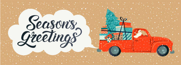 Merry christmas stylized typography. Vintage red car with santa claus, christmas tree and gift boxes. Vector flat style illustration. Merry christmas stylized typography. Vintage red car with santa claus, christmas tree and gift boxes. Vector flat style illustration. december illustrations stock illustrations