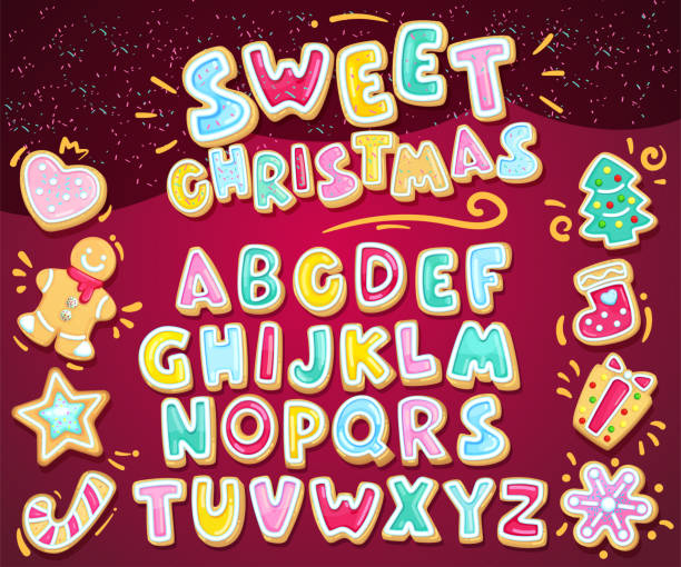 Merry christmas sweet font. Vector holiday illustration set cookie letters and figured gingerbread cookies. Heart, snowflake, fir-tree, sock, star, gift, lollipop, gingerbread man. Cartoon alphabet christmas fun stock illustrations