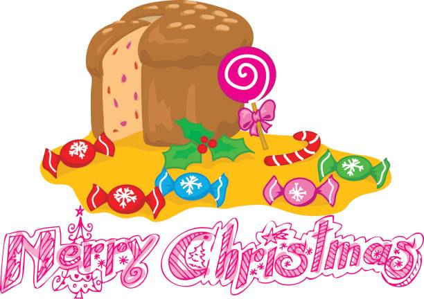 illustrazioni stock, clip art, cartoni animati e icone di tendenza di merry christmas sweets vector - panettone