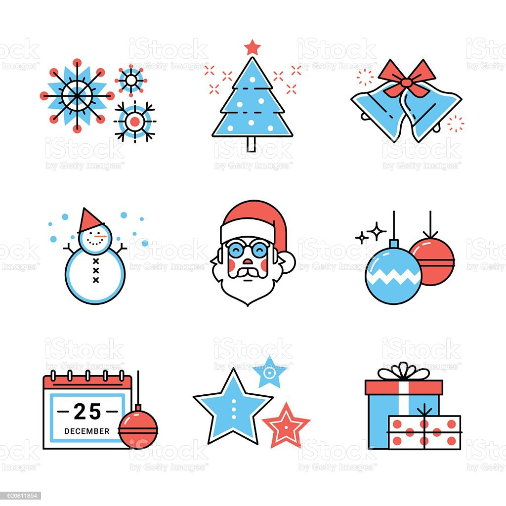 Merry Christmas Symbols Collection Stock Vector Art More Images Of