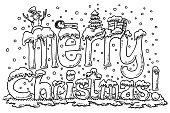 Merry Christmas Symbols Text Snow Drawing