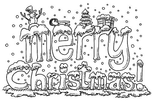 Merry Christmas Symbols Text Snow Drawing Stock ...