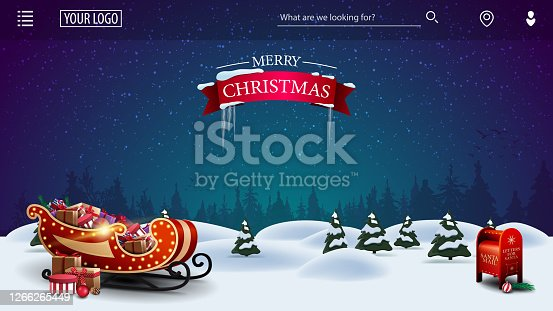 istock Merry Christmas, template for youre arts with cartoon night winter landscape with Santa Claus letterbox and Santa sleigh 1266265449