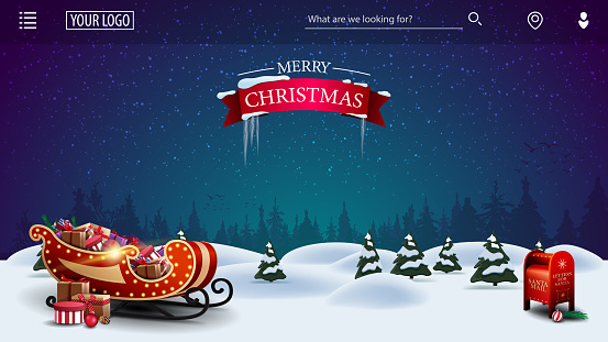 Merry Christmas, template for youre arts with cartoon night winter landscape with Santa Claus letterbox and Santa sleigh