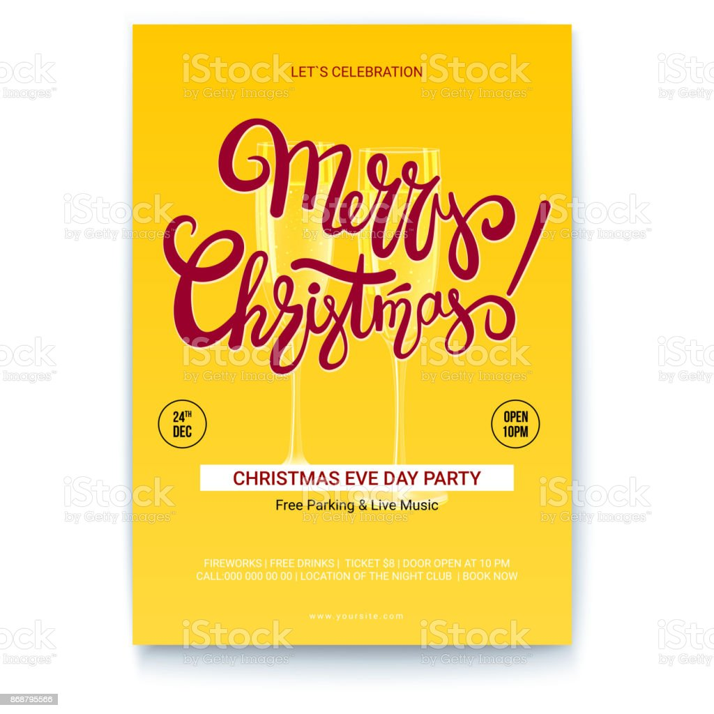 Merry christmas template of greetings poster with place for your merry christmas template of greetings poster with place for your text handwritten lettering design kristyandbryce Choice Image