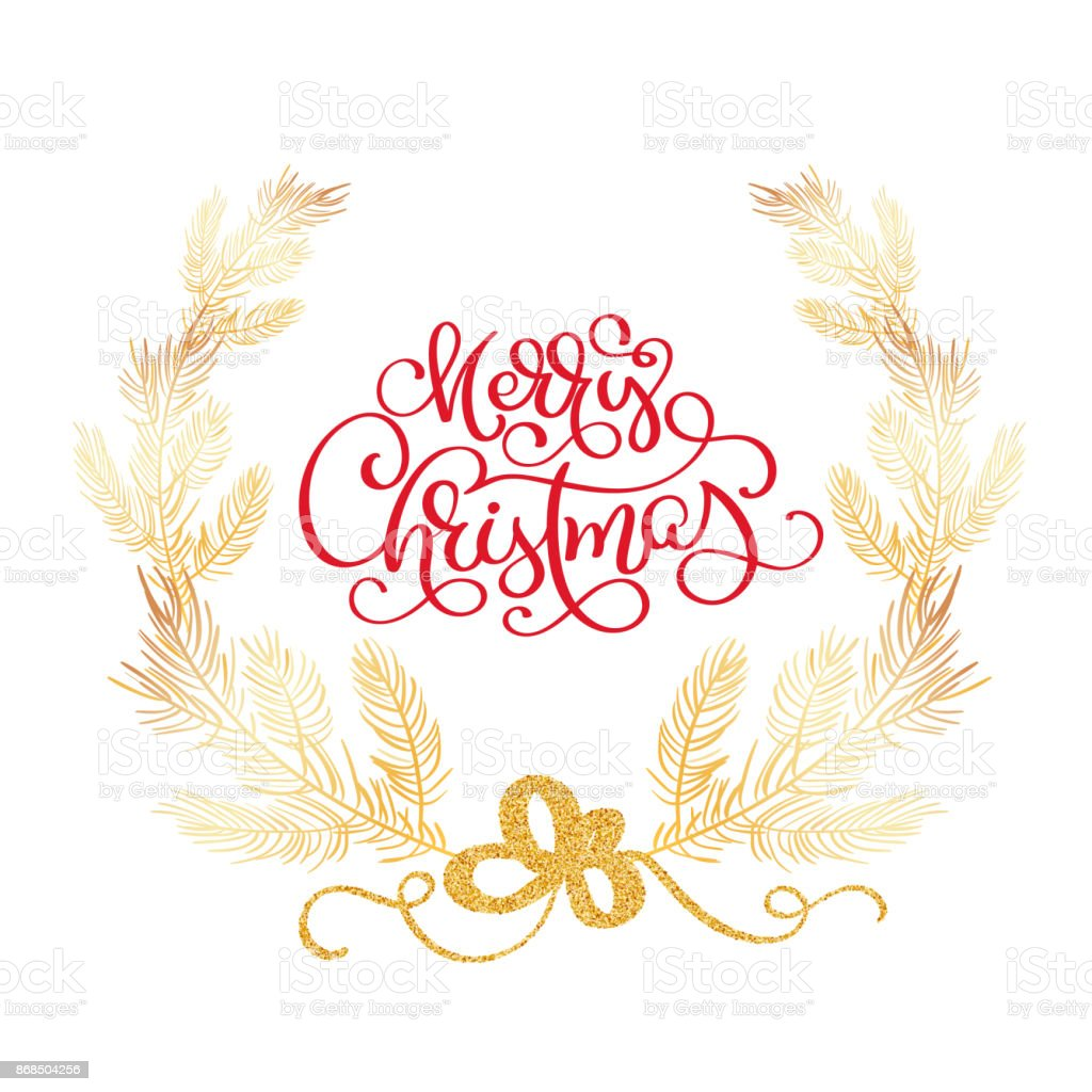 merry christmas text and fir tree border vector illustration realistic cedar branches frame isolated - Merry Christmas Border