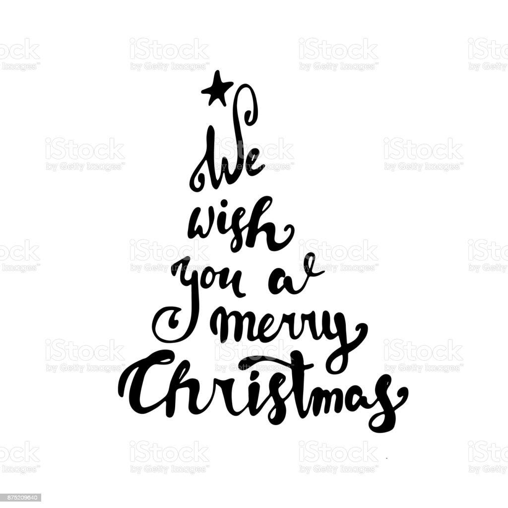 Merry Christmas Text Black Typography On White Background Stock ...