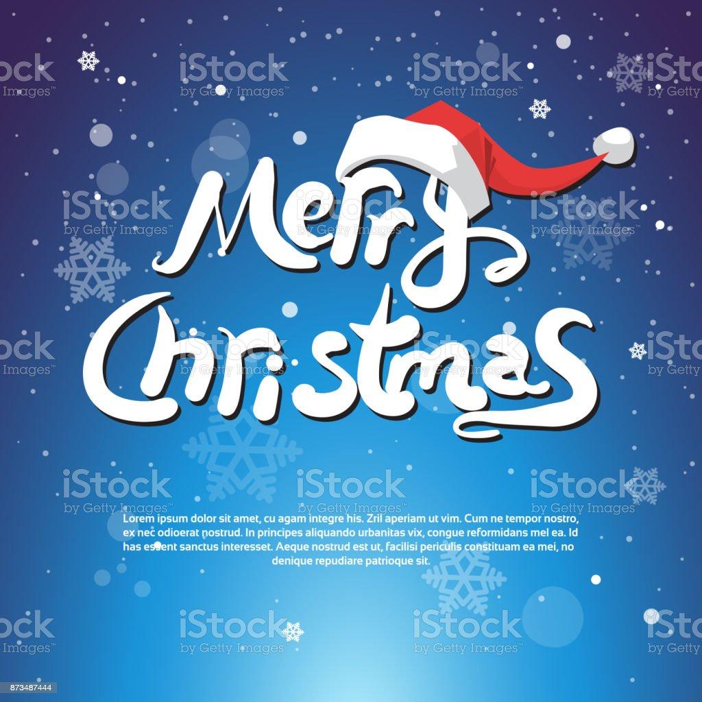 Frohe Weihnachten Text über Blaue Schneeflocken Hintergrund ...