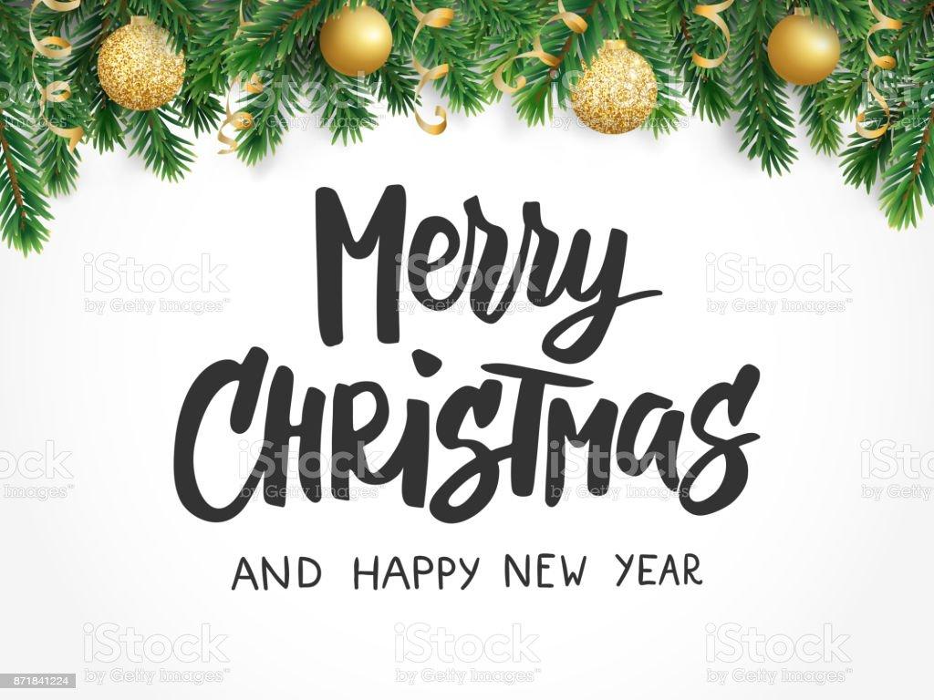 Frohe Weihnachtentext Baum Tannenzweigen Und Weihnachtskugeln Ideal ...