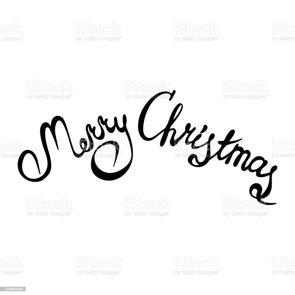 Merry Christmas Text.Merry Christmas Text Hand Drawn Xmas Calligraphy Or