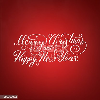 istock Merry Christmas Text .Happy New Year vector illustration lettering design EPS 10. Christmas card 1280300572