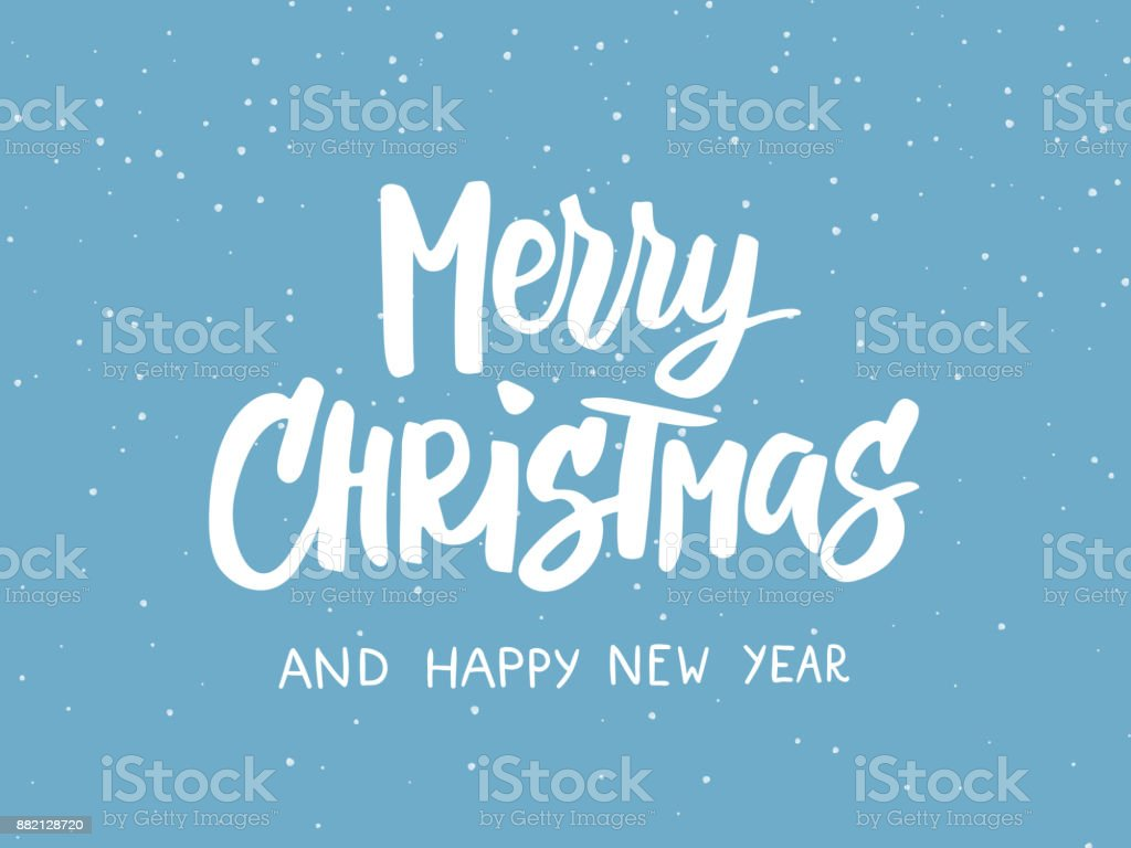 Merry Christmas Text Holiday Greetings Quote Blue Flat Background