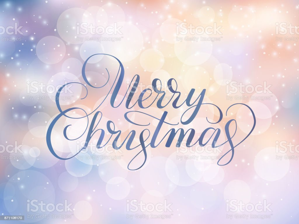 Merry Christmas Text Holiday Greetings Quote Blurred Winter