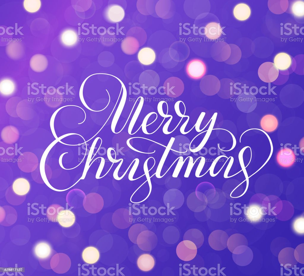 Merry christmas text holiday greetings quote purple background with merry christmas text holiday greetings quote purple background with sparkling glowing lights bokeh m4hsunfo
