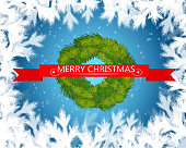 Merry christmas text in red ribbon with christmas tree on blue background. Vector illustration.