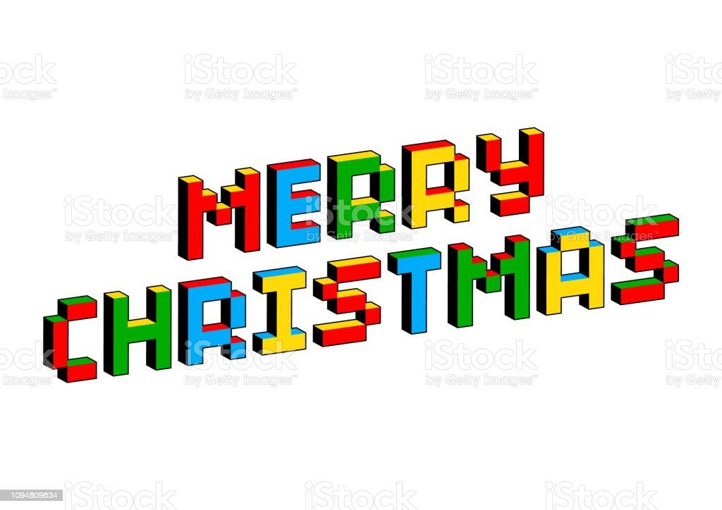 昔の 8 ビット ビデオ ゲームのスタイルでメリー クリスマスのテキスト。活気に満ちたカラフルな 3 D のピクセルの文字。創造的なベクトルのポスター、チラシ テンプレート。レトロなアー� ベクターアートイラスト