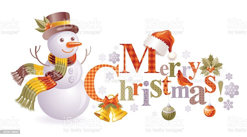 Merry Christmas Text Logo Banner With Snowman Isolated On White ...