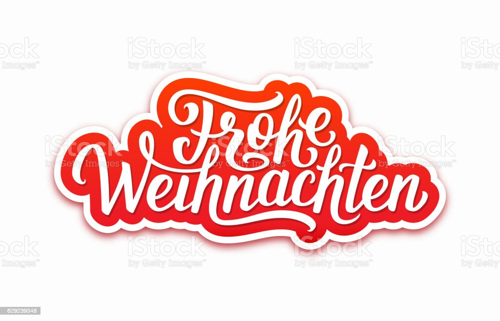Frohe Weihnachten text on label. Christmas card - Royalty-free Aralık Vector Art