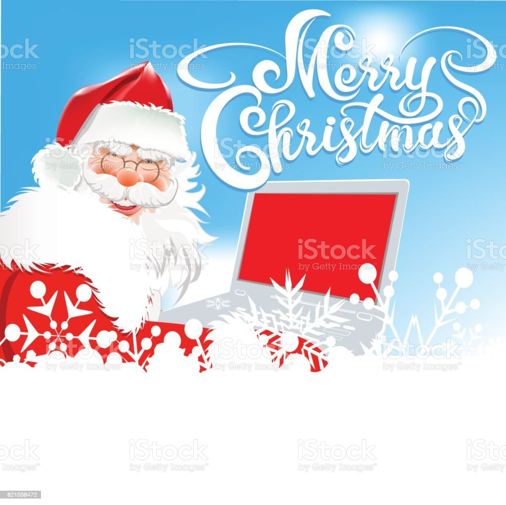 Merry Christmas Text Santa Claus With Laptop Stock Vector Art & More ...