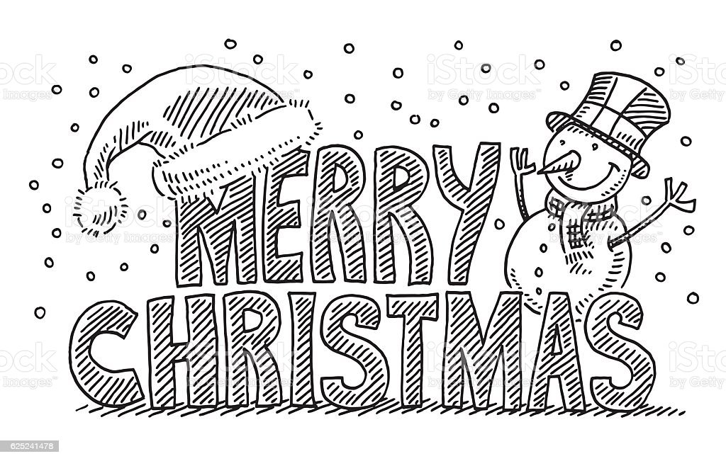 Merry Christmas Text Santa Hat Snowman Drawing Stock Vector Art ...