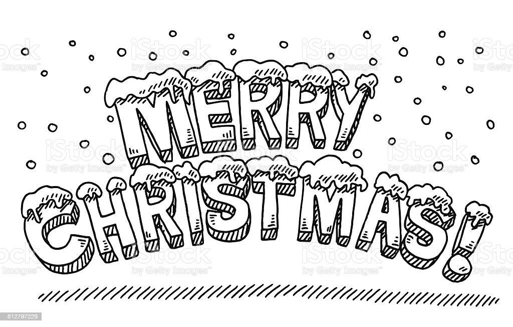 Joyeux Noel Texte Neiger Dessin Cliparts Vectoriels Et Plus D